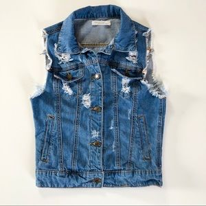Machine Jeans Inc Distressed Denim Vest